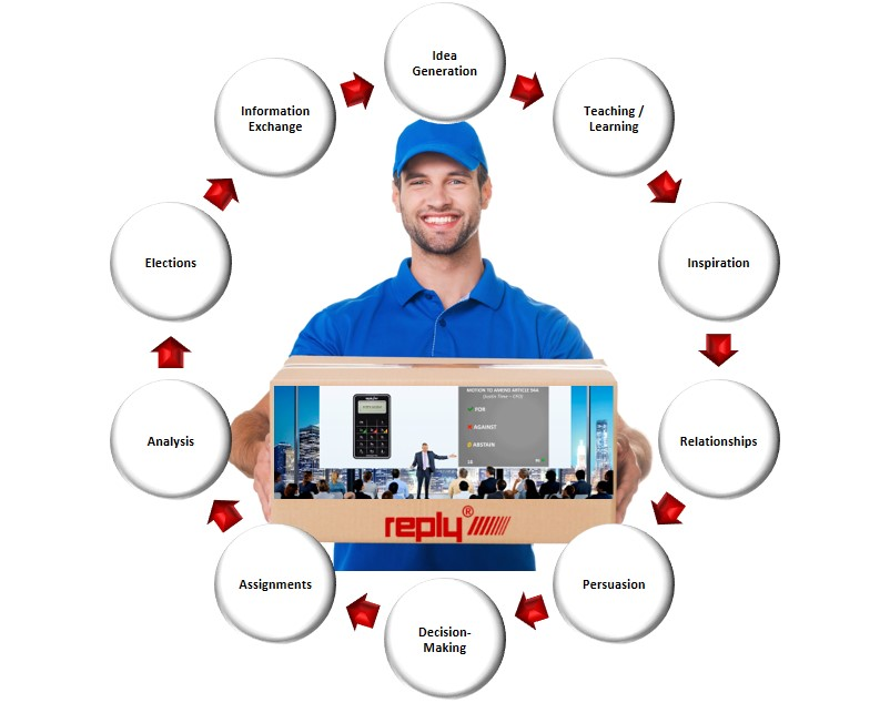 Postman with a Meeting in a Box Package